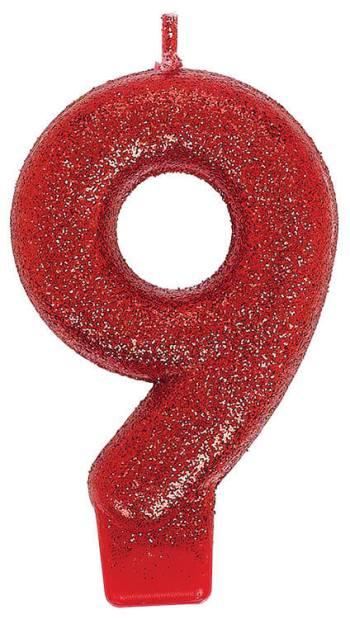 Birthday Glitter Candle 9-0