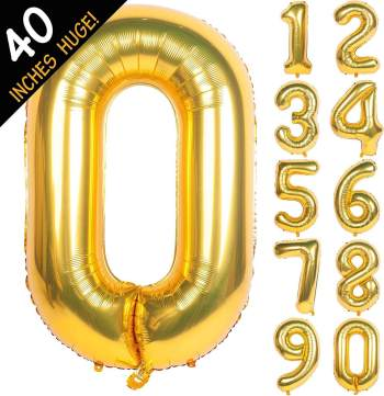 "40"" Golden Numerical 0 Balloon"