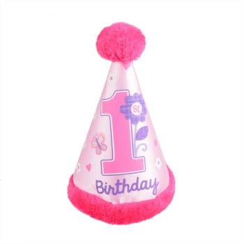 1st B'day Girl Cone Faux Hat-0