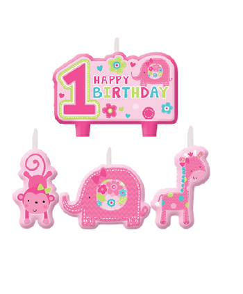 """One"" Wild Girl B'Day Candle Set - 4CT-0"