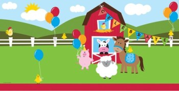 "Farmhouse Fun Party Tablecover 54x108""-0"