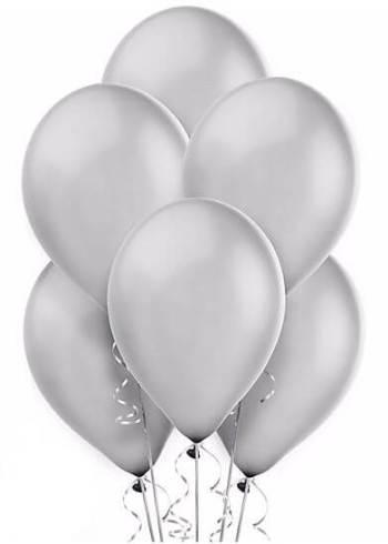 "Silver Latex Balloons 12"" - 100CT-0"