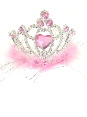Pink Tiara Heart with Marabou-0