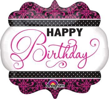 """Pink & White Birthday Balloon 25"""" P35-0"""