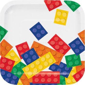 "Lego Block Party Dessert Plates 7"" - 8PC-0"