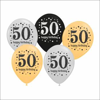 50th Birthday Printed Balloons - 15PC-0