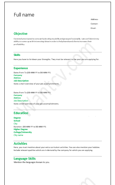 resume format for job in ms word download