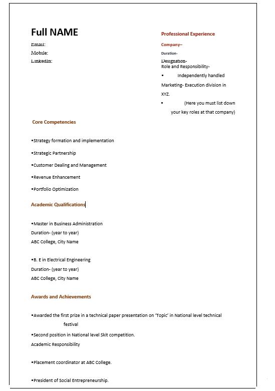 MBA Student Resume
