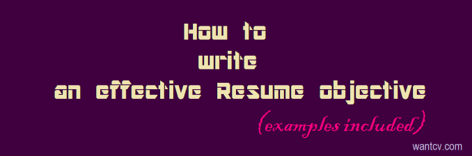 how to write resume objective