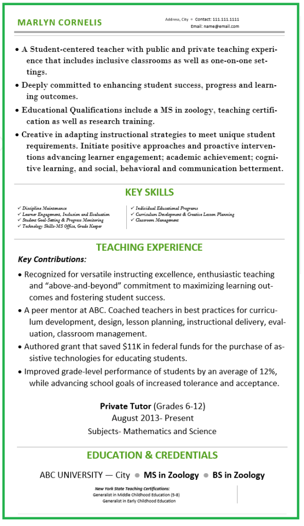 Best Resume for Elementary Teacher