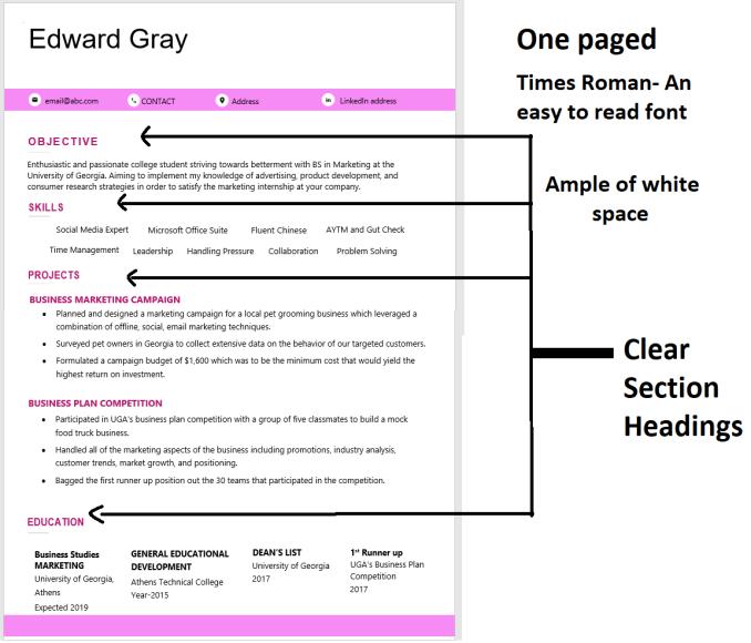 Formatting a resume