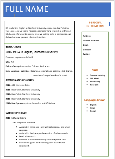 Resume for High School Students- Fresher resume format