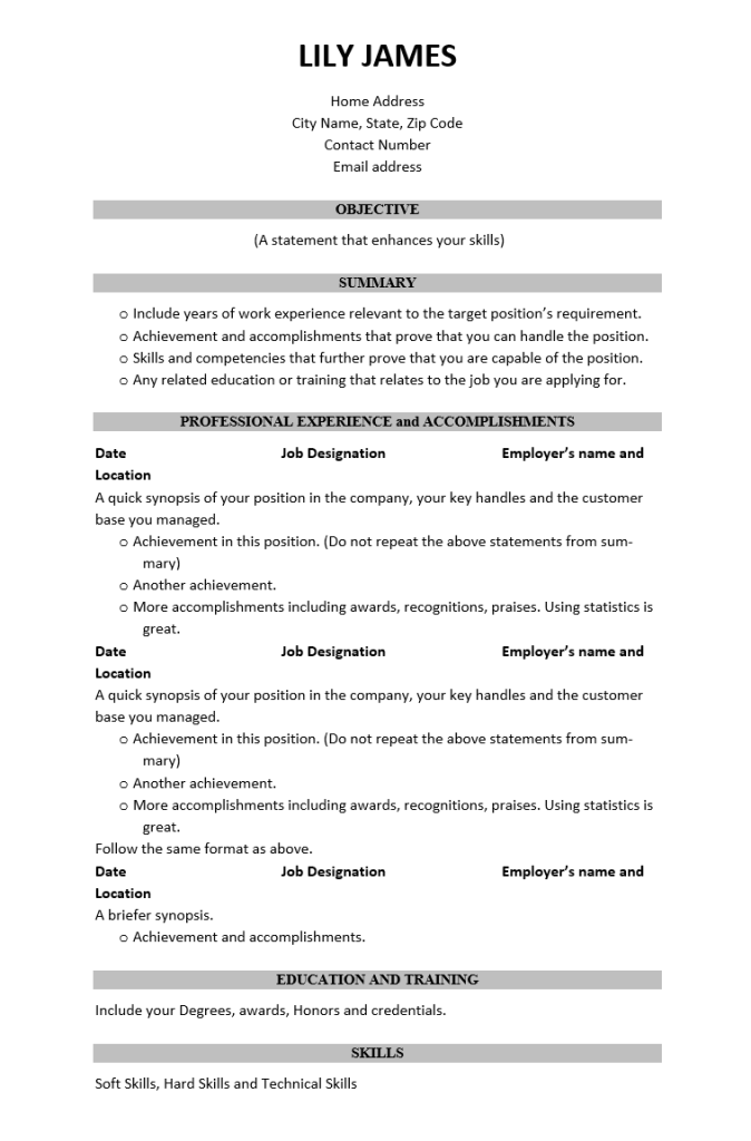 Best Free Resume Pdf Format Download Wantcv Com