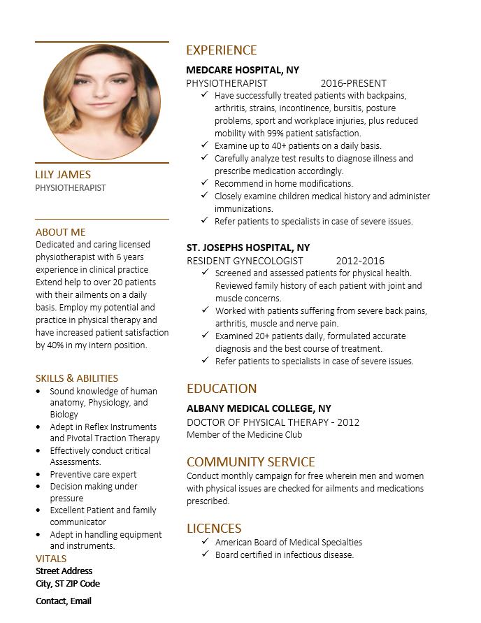 physiotherapist resume sample