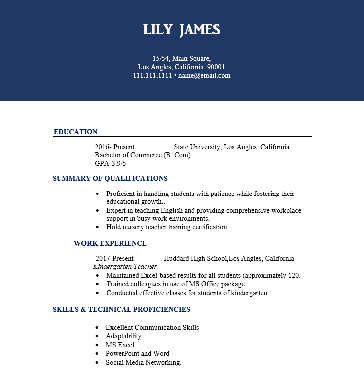 Experienced Teacher Resume