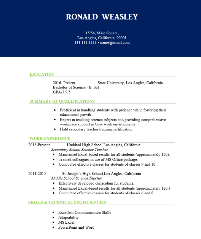 Best 5 Science Teacher Resume Free Download Wantcv Com