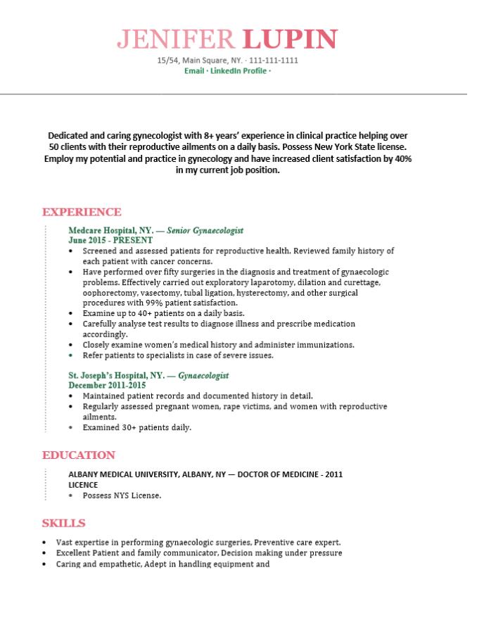 Gynecologist doctor resume
