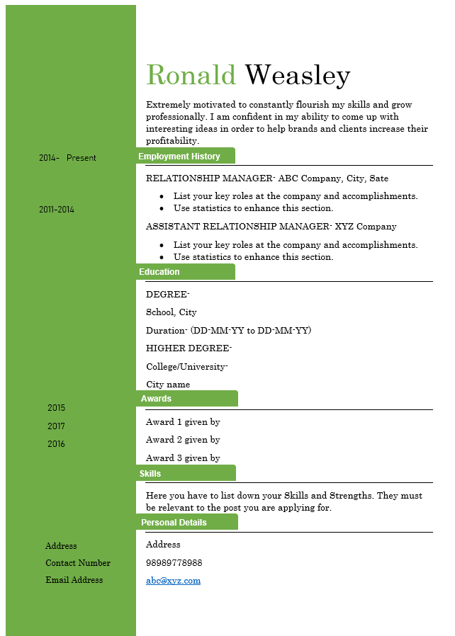 Relationship Manager Resume Template 2