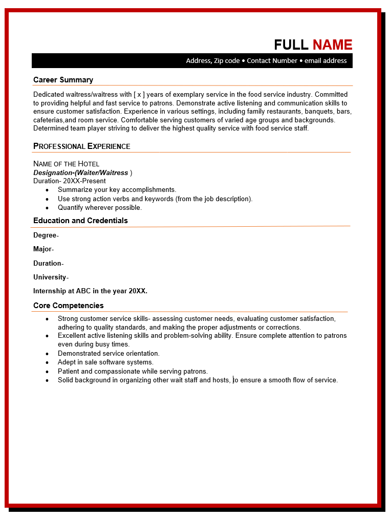 Server Resume Template Free