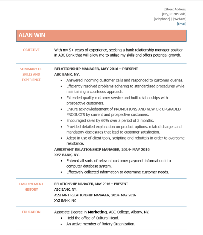 Latest 5 Relationship Manager Resume PDF & Word Format ...