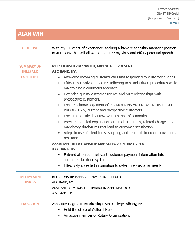 bank relationship manager resume