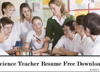 Science Teacher Resume Free Download