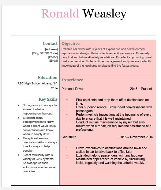 Driver Resume Samples Free Download Now Wantcv Com