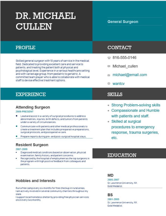 General surgeon Resume