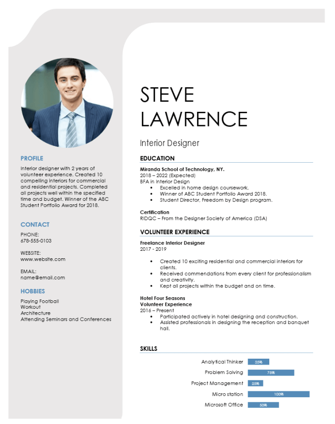 interior designer resume for fresher