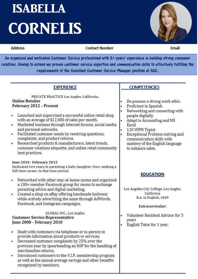 stay At Home Mom Resume Examples
