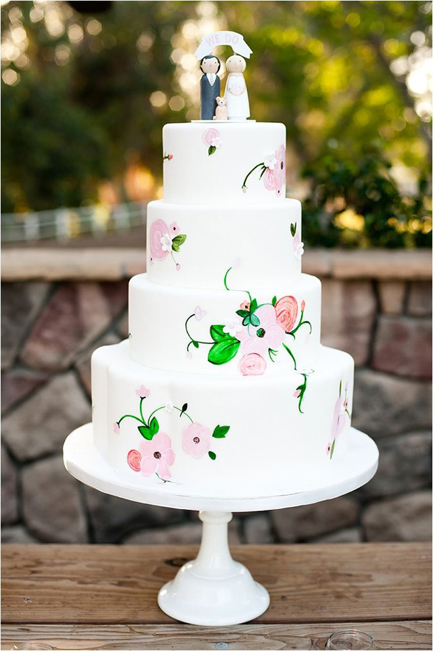 22 Hand Painted Wedding Cakes That Will Inspire You