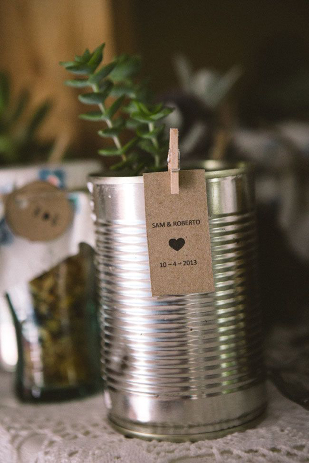 tin can as wedding table place card
