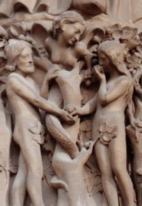 Lilith als slang die Adam en Eva verleidt tot het eten van het fruit van de boom van kennis van het goed en kwaad, de dualistische gedachte