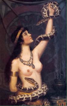 Afbeelding van het 13e sterrenbeeld: De Slangenbewaarster bracht Eva haar duivelse kennis van goed en kwaad over