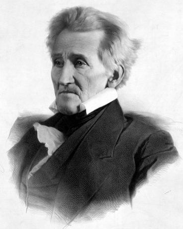 Voormalig pPresident Andrew Jackson, zoals geportretteerd in 1856