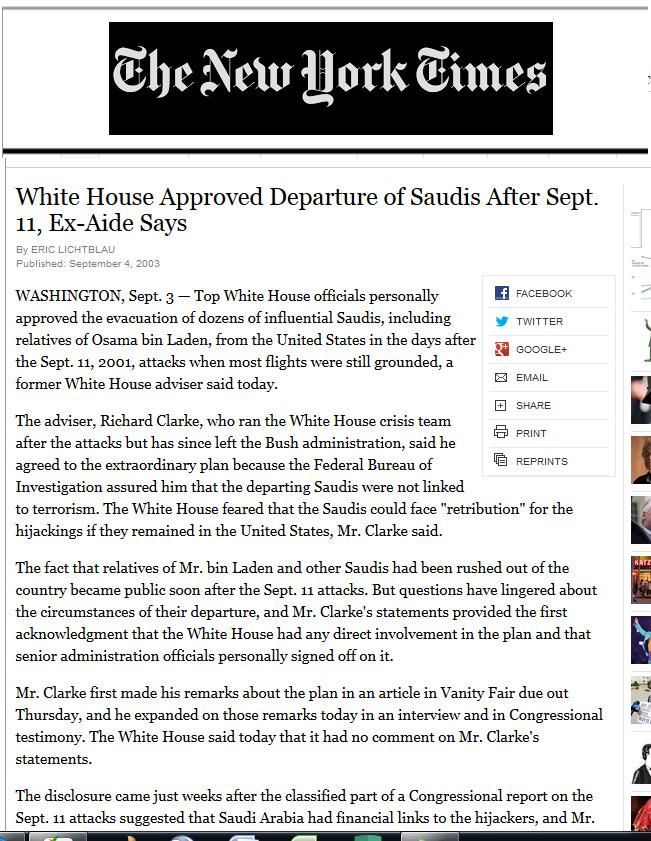 Bin Laden Saudisch verlaten VS 911 NYT