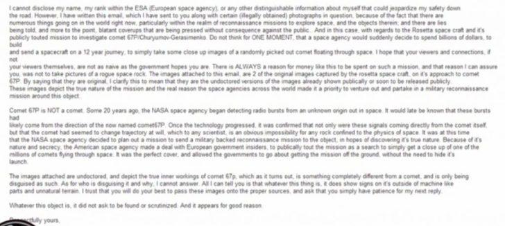 Screenshot van de YouTube, waarin de e-mail van de ESA-klokkenluider.