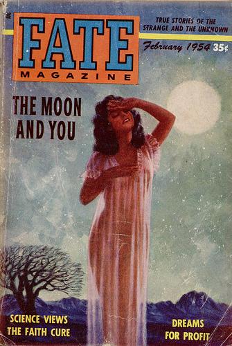 Een cover van het tijdschrift 'FATE' uit 1954. Toen al een hoofdartikel over de geheimzinnige invloed van de Maan..