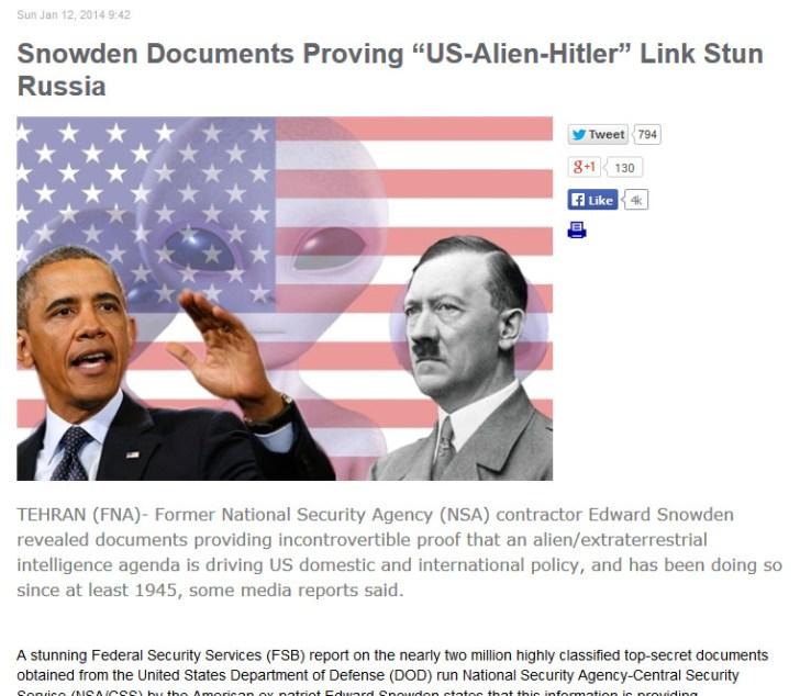 Fars News alien hitler obama