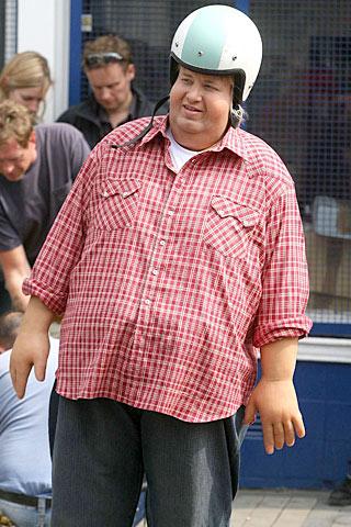 Een plaatje van Jamie Oliver als acteur in zijn Engelse video over obesitas.