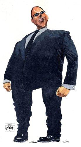 Cartoon van Ab Klink door Siegfried Woldhek. Hij staat zijn mannetje, maar past daardoor bijna niet meer in het plaatje..