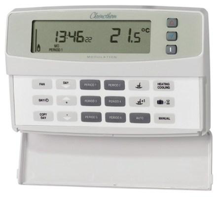 Een van de vele klokthermostaten die er op de markt zijn. Zo kun je NOOIT meer vergeten de verwarming bijvoorbeeld 's nachts uit te zetten...!