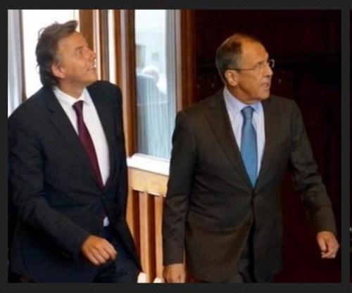 PvdA-minister Koenders en zijn Russische collega Lavrov.