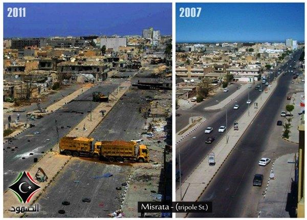 Vóór en ná de NAVO-bombardementen. Khadaffi is verdreven, leve de nieuwe heerser..!