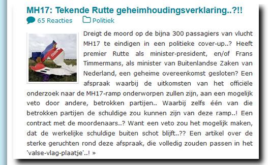 MH17 Rutte geheimhoudingsverklaring