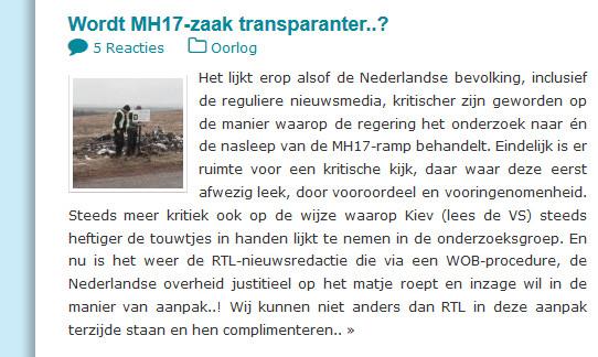 MH17 wordt de zaak transparanter
