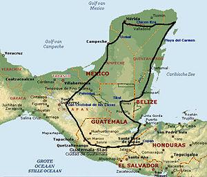 Het leefgebied van de Maya's: Midden-Amerika. Symbolisch voor de positie van de Maya's: De 'brug' tussen Hemel en Aarde.