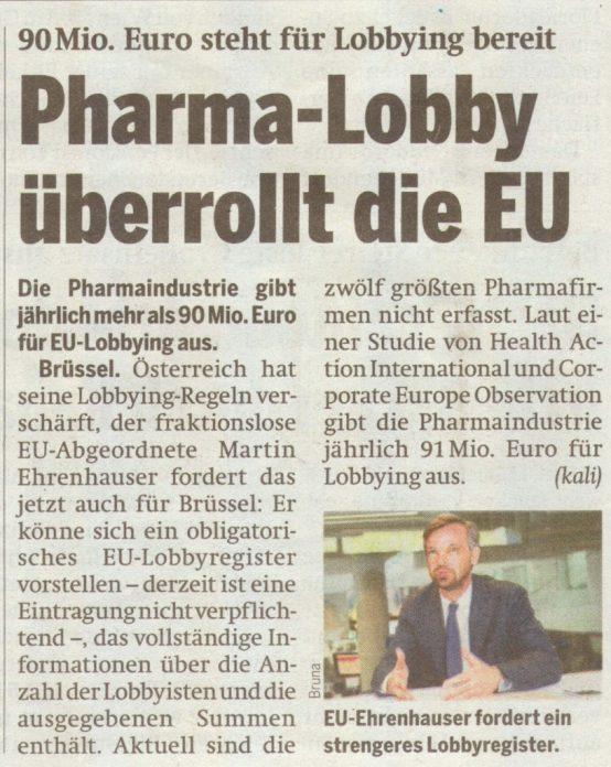 Volgens dit krantenartikel van 2 Juli, zou Big Pharma een budget van maar liefst € 90 miljoen hebben liggen om, net als in de VS, de politiek te beínvloeden..!