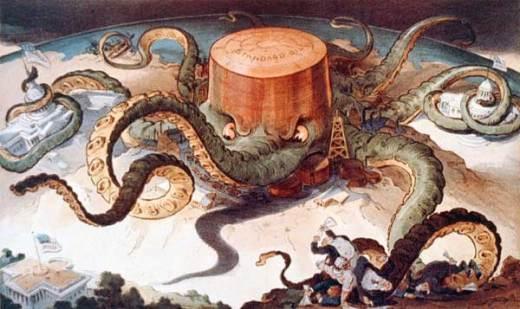 Een spotprent die aan duidelijkheid niets te wensen over laat. Hoe het gedrocht van de Rockefellers zich in de economische wereld van de jaren 1920 bewoog.