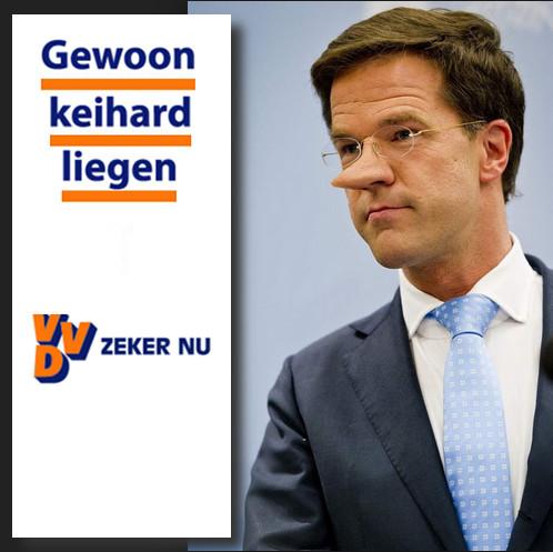 Mark Rutte lijkt de leugenachtige politiek uit de VS als eerste volledig te hebben omarmd. Leugens, leugens en nog eens leugens.. En wat is zijn beloning..?? Hij wordt premier van Nederland...!
